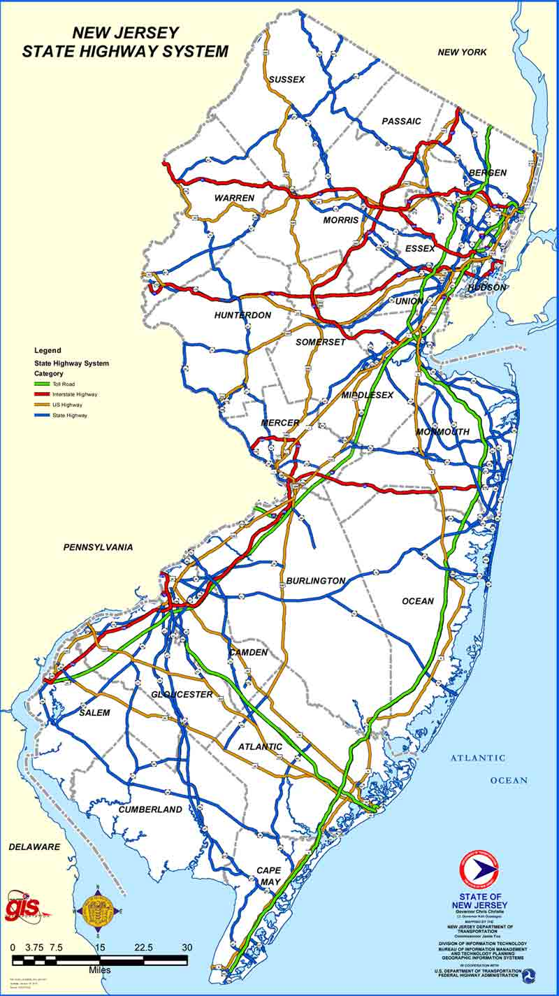 New Jersey Map - Nj road map