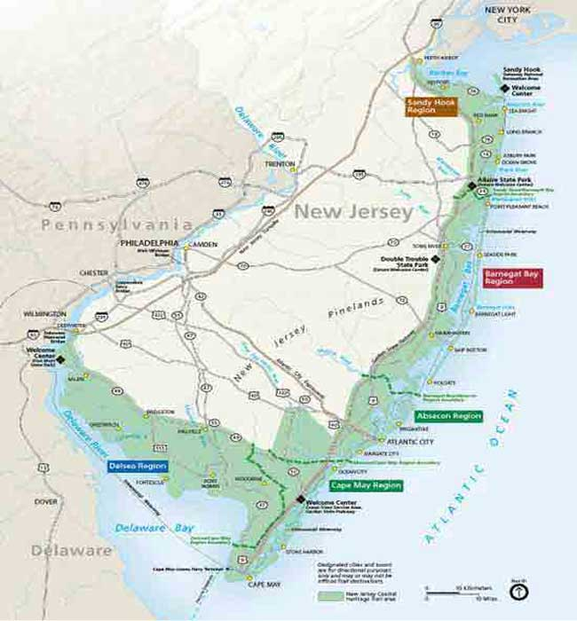 Nj Coastline Map New Jersey Coastal Heritage Trail